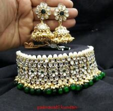 ndian Women Antique Bridal Necklace Set Choker Gold Plated Jewelry Kundan Pearl