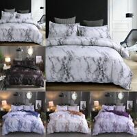 2/3Pc Marble Printed Duvet Cover Set Brushed Microfiber Comforter Bedding Quilt