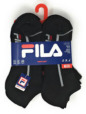 Fila Boys No-Show Socks with Swift Dry Size 9-11 in Black w/ Light Grey Stripes