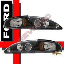 94-98 Ford Mustang Black Halo Projector Headlights Head Lamps RH + LH