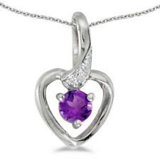 """10k White Gold Round Amethyst And Diamond Heart Pendant with 18"""" Chain"""