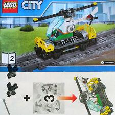 Lego Heavy-Haul Train 60098 Flat Cargo Wagon w Helicopter Chopper NEW FShip B2