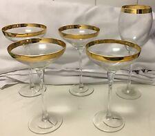 GORGEOUS 8 M&S GOLD EDGE RIM GLASSES 4 WINE + 4 CHAMPAGNE GLASS CUPS NEW