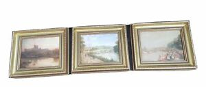 """Set of 3 Reprint Matching Framed Prints  9""""x7"""" Litho of Art Paintings Vintage"""