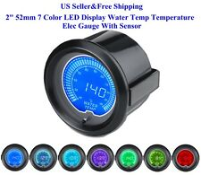 "2"" 52mm 7 Color LED Display Water Temp Temperature Elec Gauge With Sensor US"