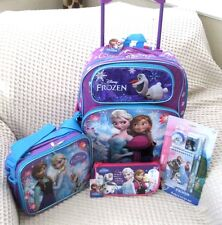 """Frozen 16"""" Rolling Backpack,Lunchbox,Pencil Pouch,4pc Stationary Set Combo-VER2A"""
