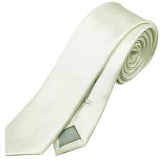 MENS IVORY CHAMPAGNE OFF WHITE 5CM SKINNY TIE necktie thin narrow slim