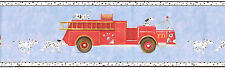 Fire Engines & Dalmatians for Boys on Blue Wallpaper Border TY7666B