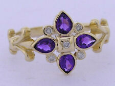 R079 Genuine 9ct Solid Gold NATURAL Amethyst & Diamond Ring Blossom size M