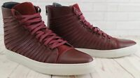 Cipher Radial Claret Burgundy Red Men's Leather Suede High Top Lace-Up Trainers