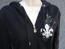 Women's BCBG Max Azria Rhinestone Hoodie Size S Zippered Sweatshirt Bling EUC