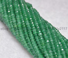 Natural 2x4mm Faceted Green Emerald Rondelle Gems Loose Beads 15 Inch AA
