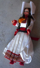 """Vintage 1960s Plastic Ethnic Girl in White Outfit Character Doll 6 3/4"""" Tall"""