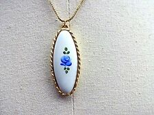 #B4 Vintage Sarah Coventry Necklace Cloisone Rose Hand Painted Gold Tone Oval
