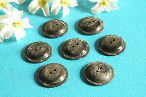 """1302B Stunning Buttons """" Comet """" Grey Iridescent Lot Of 7 Buttons Period Vintage"""