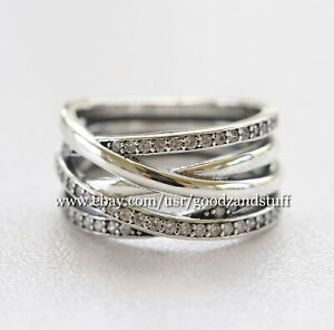 Entwined Ring Authentic Pandora Sterling Silver with CZ Ring 190919CZ Size 52