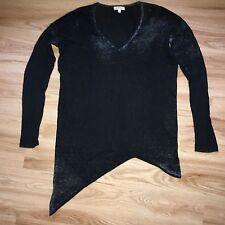 Helmut Lang Oversized Dark Grey V-neck Asymmetric Knit Jumper Top Cashmere S