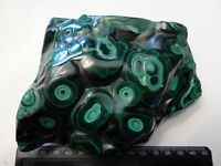 ART NOUVEAU MASSIVE DARK MALACHITE FREEFORM POLISHED CRYSTAL  130mm 840g FJ116