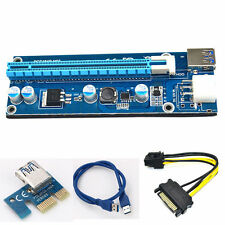USB3.0 PCI-E Express 1x to 16x Extender Riser Card Adapter SATA Power Cable 6 Pi