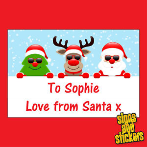 40 Personalised santa Christmas Stickers tags labels xmas parcels presents gifts