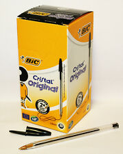 ORIGINAL BIC CRISTAL BALL POINT PENS 1.00mm BLACK SMOOTH WRITING  50PCS