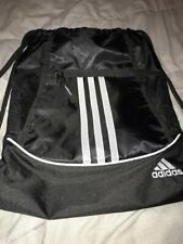 Adidas Alliance II Backpack Sackpack Athletic Drawstring Gym Bag Black