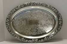 Vintage Oval Silverplate & Glass Appetizers, Snack Nuts, Salad Tray Alvin Gorham
