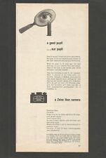 ZEIS IKON camera- a good pupil...our pupil  - 1957 Vintage Print Ad