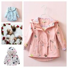 Girls Windbreaker Coat Baby Kids Flower Hooded Outwear Coats Jacket Clothing