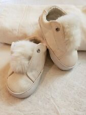 Sam Edelman Infant Shoes Sneakers Off White 4 Months Faux Fur Pompoms