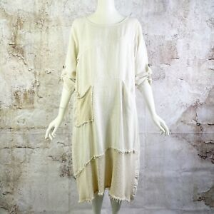 Made In Italy Womens Dress OS Beige Wearable Art Lagenlook Linen Cotton Shift