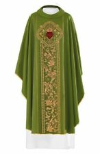 Clergy Embroidered Sacred Heart Chasuble GREEN
