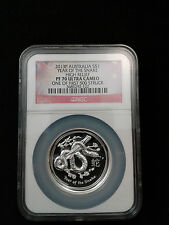 2013 P Australia Silver High Relief Snake NGC PF70 UC One of first 500 Struck