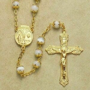 6mm Faux Pearl Cap Rosary w/14K Gold Sterling Crucifix