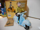 scooter girl tin toy tole lambretta bleu