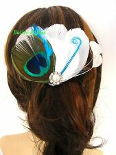 New Peacock Diamante Feather Hair Clip Fascinator Handmade in UK 'Sabrina'