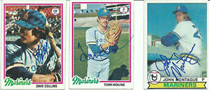 MARINERS DAVE COLLINS, TOM HOUSE & JOHN MONTAGUE LOT OF 3 SIGNED TOPPS CARD