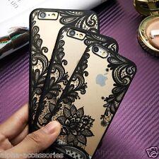 pour iPhone 6s Ultra Fin Noir Transparent Dentelle Fleur Coque Rigide 8 7 6 SE