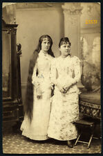 Larger size Vintage Cabinet card, woman w amazing long hair, 1880' Hungary