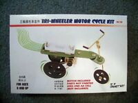 UNBUILT electric MOTOR 3-wheel MOTORCYCLE science fair project toy learning kit
