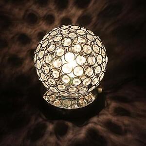 110-220V Crystal Table Lamp Light Bedroom Bedside Ball Table Night Lamp