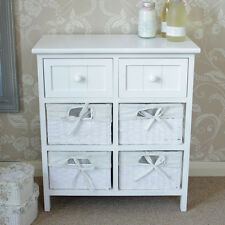 White Wicker Storage Basket Unit Shabby French Chic Bedroom Bathroom Kitchen