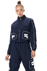 Fila Womens Pavani Soft Shell Long Sleeved Zip Up Collared Retro Track Jacket