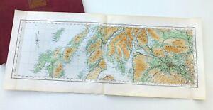 SCOTLAND, 1924 - GLASGOW, THE CLYDE, ISLAY & JURA Vintage Cloth OS Map.