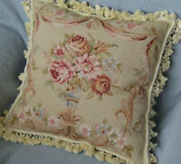 "16"" Square French Country Floral Aubusson Wool Needlepoint Pillow Sham handmade"