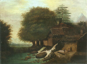 """Landscape with Mill (1860) by Paul Cezanne - 17"""" x 22"""" Fine Art Print - 00996"""