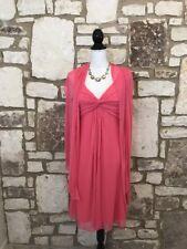 Alex Evenings 6 Women's Sz 8 Sheer Sleeveless Dress w/matching Scarf Lined Coral