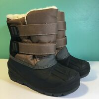 Cat & Jack Toddler Boys Lev Brown Tan Black Sherpa Lined Winter Snow Boots