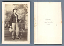 Richebourg, Paris, garçonnet au chapeau rond Vintage CDV albumen carte de visite