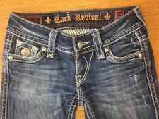 Rock Revival Tori Straight Womens Jeans Distressed Faded Flap Pocket Sz 25